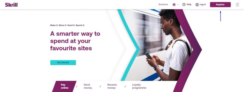 Skrill - home page.
