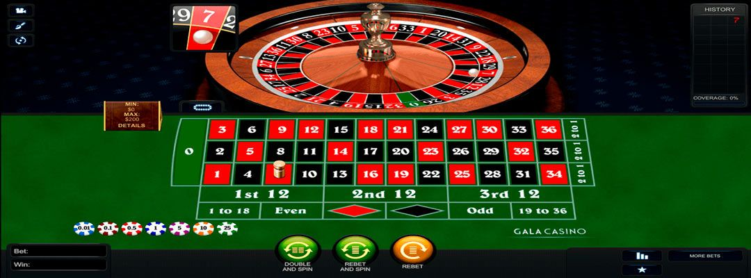 European roulette online - table and wheel.